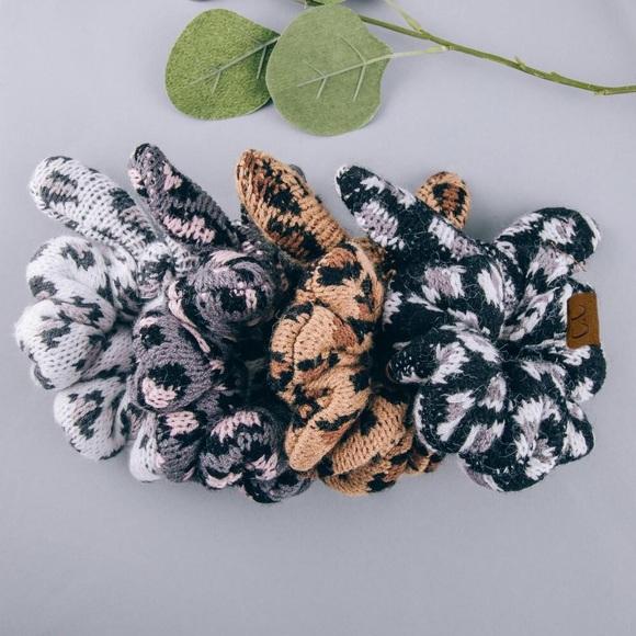 🆕 Leopard Print Bow Knit Hair Scrunchie